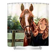 Wide Eyed Girl And Her Horse Shower Curtain