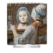 A Girl Wearing A Bonnet Shower Curtain