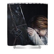 A Girl Who Loves Horses Shower Curtain