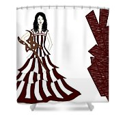 A Girl With Guitar  Shower Curtain