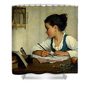A Girl Writing. The Pet Goldfinch Shower Curtain