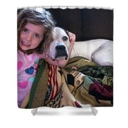 A Girlie-girl And Her Dog Shower Curtain