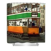 A Glasgow Tram With Figures And Tenement Shower Curtain