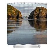 A Glossy Beach Shower Curtain