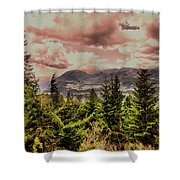 A Glimpse Of The Mountains Shower Curtain
