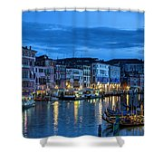 A Glowing Venice  Evening Shower Curtain