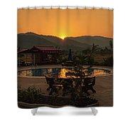 A Golden Sunset In Loas Shower Curtain