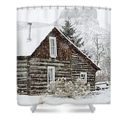 A Golden Winter Shower Curtain
