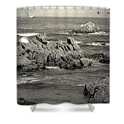 A Good Day Fishing On Monterey Bay In Black And White Shower Curtain