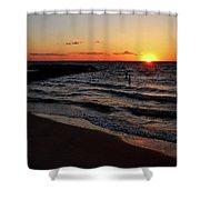 A Grand Beach Sunset Shower Curtain