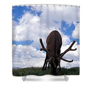 A Grazing Bull Elk Up Close Shower Curtain