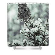 A Great Gray Owl Strix Nebulosa Perches Shower Curtain