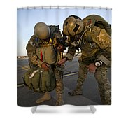 A Green Beret Inspects The Gear Shower Curtain