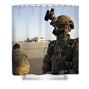 A Green Beret Waits To Have His Gear Shower Curtain