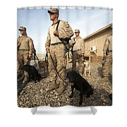 A Group Of Dog-handlers Conduct Shower Curtain by Stocktrek Images