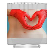 A Heart Of Red Leather Shower Curtain