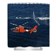 A Helicopter Crew Trains Off The Coast Shower Curtain by Stocktrek Images
