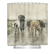 A Herdess With Cows On A Country Road In The Rain Shower Curtain