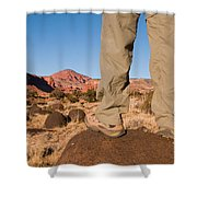 A Hiker Admires The Sunrise Light Shower Curtain