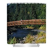 A Hiker Crosses A Bridge Shower Curtain