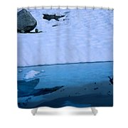A Hiker Explores A Lake Near The Nellie Shower Curtain