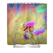 A Hoverfly On Abstract #h3 Shower Curtain