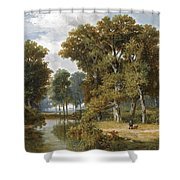 A Hunter And An Angler In A Wooded Landscape Shower Curtain