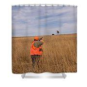 A Hunter Shoots A Ring Necked Pheasant Shower Curtain