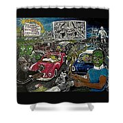 A I P Monster Movie Marathon At The Twilight Drive - In  La Porte Indiana Shower Curtain