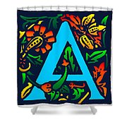 A In Blue Shower Curtain