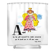 A Is For Angel Shower Curtain