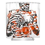 A J Green Cincinnati Bengals Pixel Art 5 Shower Curtain