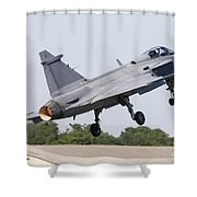 A Jas-39 Gripen Of The Swedish Air Shower Curtain