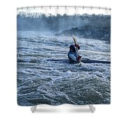 A Kayaker Takes On White Water Rapids Shower Curtain
