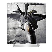 A Kc-135 Stratotanker Refuels A F-22 Shower Curtain
