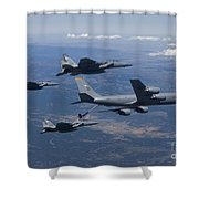 A Kc-135r Stratotanker Refuels Three Shower Curtain by HIGH-G Productions