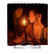 A Lady Admiring An Earring By Candlelight Shower Curtain