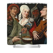 A Lady Holding A Swaddled Cat A Man With A Pan Of Porridge Another Playing With Fire Irons And Two O Shower Curtain