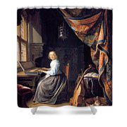 A Lady Playing The Clavichord Shower Curtain