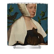 A Lady With A Squirrel And A Starling Anne Lovell Shower Curtain