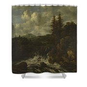 A Landscape With A Waterfall And A Castle On A Hill Shower Curtain