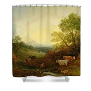 A Landscape With Cattle And Figures By A Stream And A Distant Bridge Shower Curtain by Thomas Gainsborough