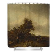 A Landscape With Peasants And A Cart Shower Curtain