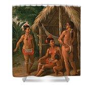 A Leeward Islands Carib Family Outside A Hut Shower Curtain
