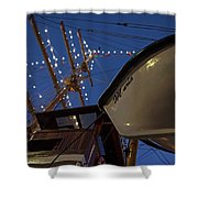 A Lifeboat Named Maria Boston Tall Ships 2017 Lighted Mast Boston Ma Shower Curtain