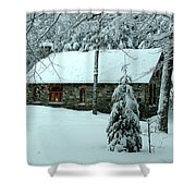 A Light In The Stone House Window Shower Curtain
