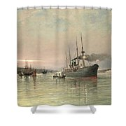 A Liner And Other Shipping Before The Statue Of Liberty Shower Curtain