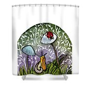 A Little Chat-ladybug And Snail Shower Curtain