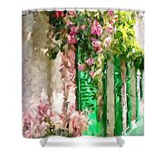 A Little Cozy Street With Roses Shower Curtain