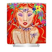 A Little Dragonfly Spell Shower Curtain